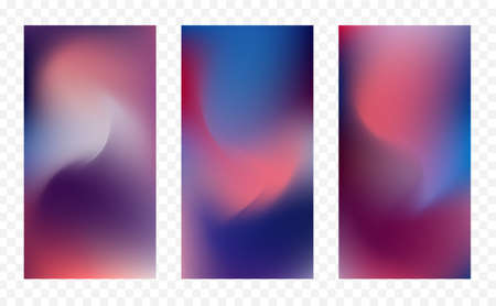 Vector illustration: Set of three abstract colorful backgrounds. Modern screen design for app. 일러스트