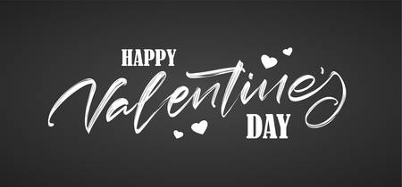 Hand drawn brush lettering of Happy Valentines Day with hearts on chalkboard background. 向量圖像