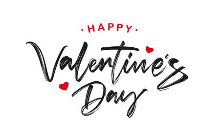 Handwritten brush ink lettering of Happy Valentines Day on white background. 向量圖像