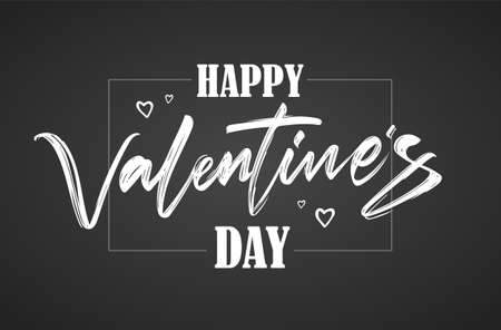 Calligraphic brush lettering of Happy Valentines Day with hearts on chalkboard background. 向量圖像