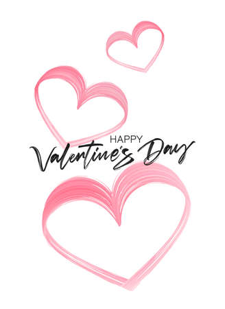 Vector illustration: Romantic greeting card with lettering of Happy Valentines Day and brush stroke pink paint hearts. Ilustração