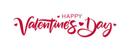 Happy Valentines Day. Handwritten calligraphic lettering with hearts on white background.