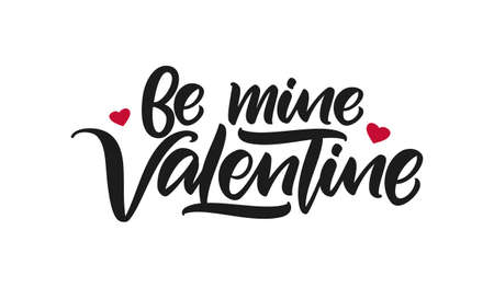 Vector illustration: Handwritten calligraphic lettering of Be Mine Valentine 向量圖像