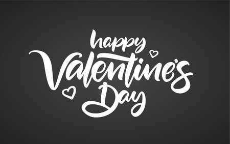 Vector illustration: Hand drawn calligraphic brush lettering composition of Happy Valentines Day on chalkboard background.