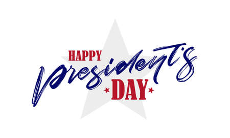 Calligraphic handwritten lettering composition of Happy Presidents Day with stars.