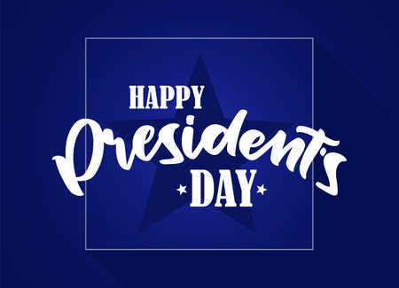 Calligraphic handwritten lettering composition of Happy Presidents Day with stars on blue background.