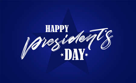 Vector illustration: Calligraphic handwritten lettering composition of Happy Presidents Day on blue background. Ilustrace