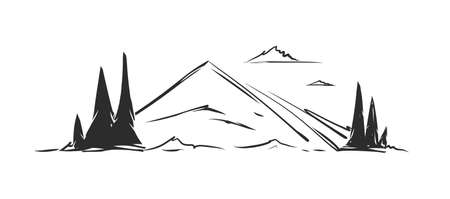 Hand drawn Mountains sketch landscape with hills and pines on foreground.