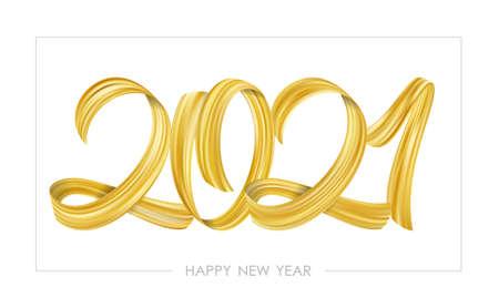 Vector illustration: Golden Brushstroke paint lettering calligraphy of 2021 Happy New Year on white background.Luxury design