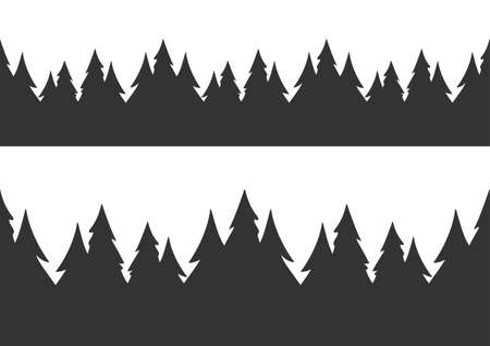 Vector illustration: Set of two seamless hand drawn pine forest.