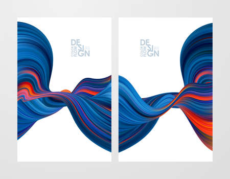 Vector illustration: Set of two abstract flow backgrounds. Modern design. Ilustrace