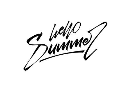 Vector illustration: Handwritten brush type letter composition of Hello Summer.