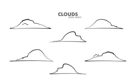 Vector illustration: Set of Hand drawn cartoon clouds. Sketch line design