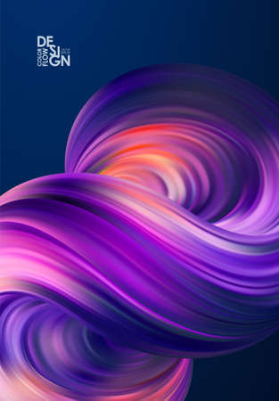 Vector illustration: Abstract 3d poster background with fluid. Trendy design Ilustrace