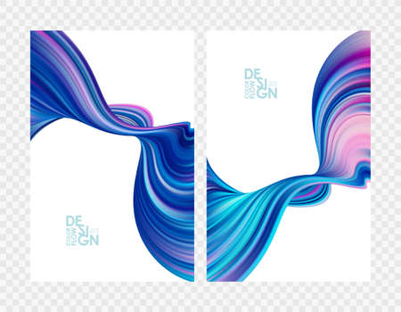 Vector illustration: Set of abstract blue color flow backgrounds. Modern design.