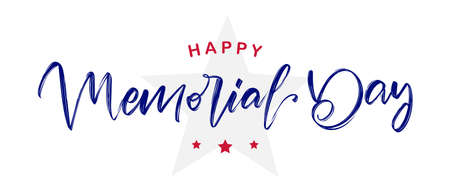 Handwritten calligraphic lettering of Happy Memorial Day with star