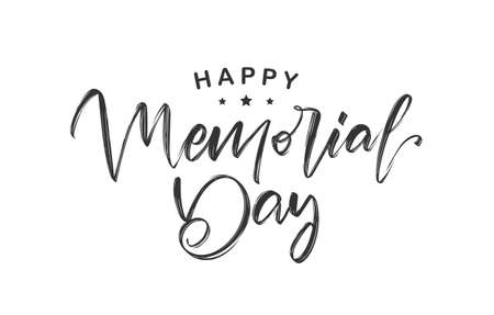 Vector illustration: Calligraphic type lettering of Happy Memorial Day on white background