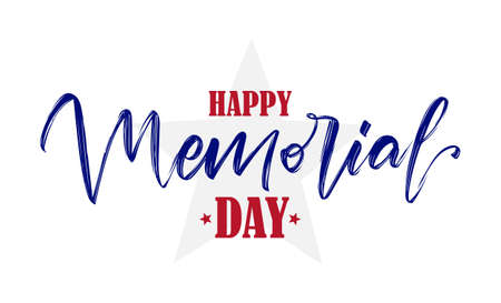 Vector illustration: Handwritten lettering of Happy Memorial Day with star