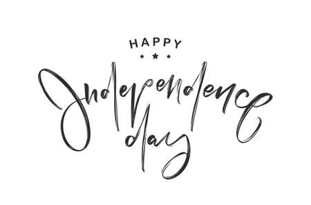 Vector illustration: Handwritten lettering of Happy Independence Day.