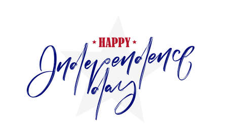 Vector illustration: Handwritten lettering of Happy Independence Day on white background. Fourth of July. Ilustrace