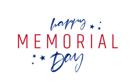 Vector illustration: Calligraphic Type lettering composition of Memorial Day with stars on white background