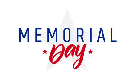 Vector illustration: Type lettering composition of Memorial Day with stars on white background