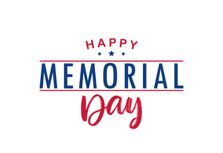 Vector illustration: Type lettering composition of Happy Memorial Day with stars on white background Illustration