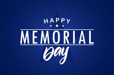 Vector illustration: Type lettering composition of Happy Memorial Day with stars on blue background  イラスト・ベクター素材