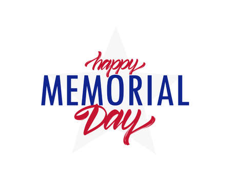 Vector illustration: Type lettering composition of Happy Memorial Day with star