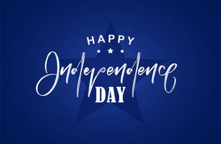 Vector illustration: Handwritten lettering of Happy Independence Day on blue background. Fourth of July.