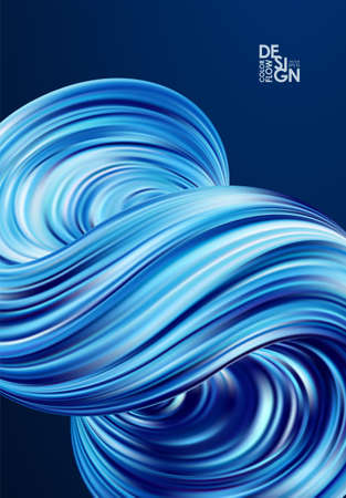 Vector illustration: Poster with Abstract 3d blue color twisted flow shape of liquid fluid.
