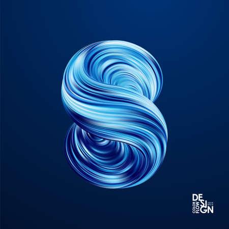 Vector illustration: Abstract 3d blue color twisted flow shape of liquid fluid. Illustration