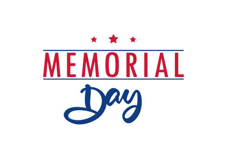 Vector illustration: Type lettering composition of Memorial Day on white background Ilustrace