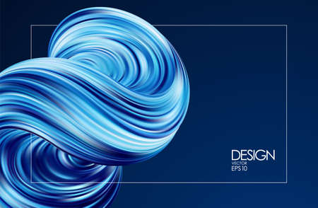 Vector illustration: Abstract 3d background with blue colored fluid. Trendy design