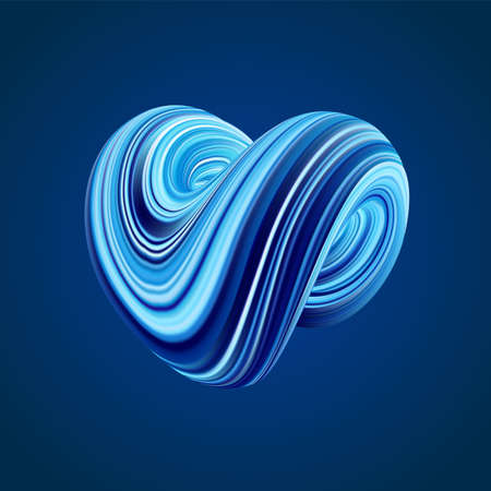 Vector illustration: 3D Colorful abstract twisted fluide shape on blue background Illustration