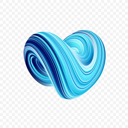 Vector illustration: 3D Colorful abstract twisted fluide shape. Blue Trendy liquid design Illustration