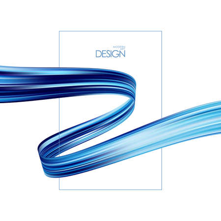 Vector illustration: Modern blue color flow background. Abstract wave twisted liquid shape. Template for your design