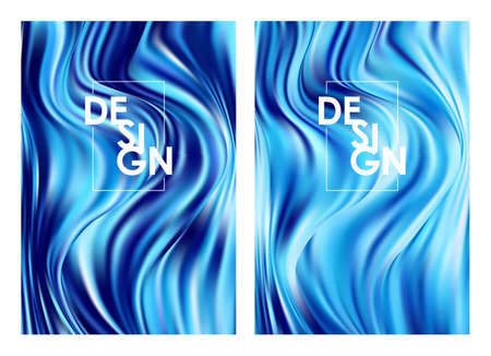 Vector illustration: Set of two modern blue flow posters. Abstract twisted wavy color liquid background. Trendy art design