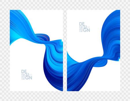 Vector illustration: Set of abstract blue color flow backgrounds. Modern design.