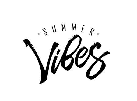 Vector illustration: Hand drawn type lettering composition of Summer Vibes