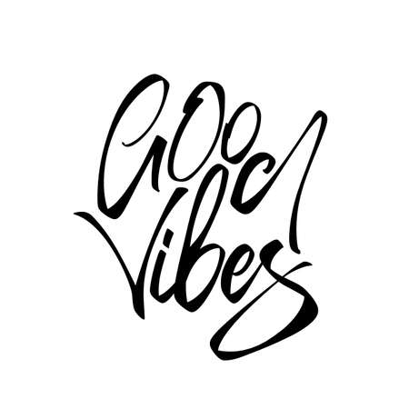 Vector illustration: Handwritten type lettering composition of Good Vibes