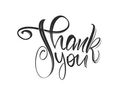 Vector illustration: Handwritten modern brush lettering of Thank You