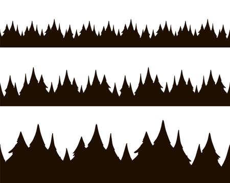Set of three hand drawn cartoon seamless pine forest.