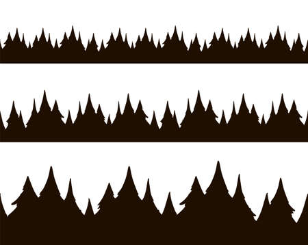 Set of three hand drawn cartoon seamless pine forest.