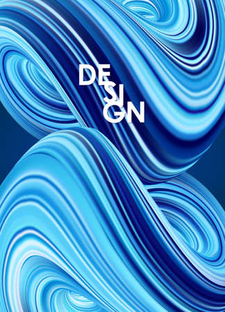Abstract 3d background with blue colored fluid. Trendy design