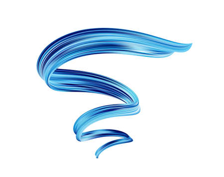 Abstract 3d twisted blue flow liquid shape. Acrylic paint sroke. Modern design Illustration