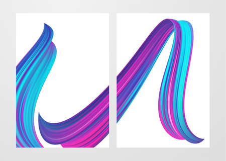 Set of two Modern abstract blank backgrounds with 3d twisted colorful flow liquid shape.  イラスト・ベクター素材
