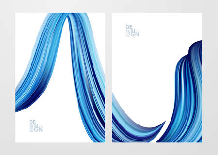 Vector illustration: Set of two blank backgrounds with 3d twisted blue color flow liquid shape.