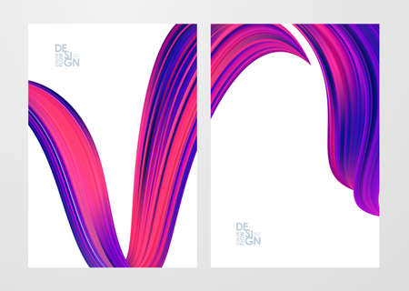 Vector illustration: Set of two blank backgrounds with 3d twisted colorful flow liquid shape.