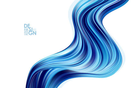 Vector illustration: Modern blue color flow background. Abstract wave liquid shape. Illustration